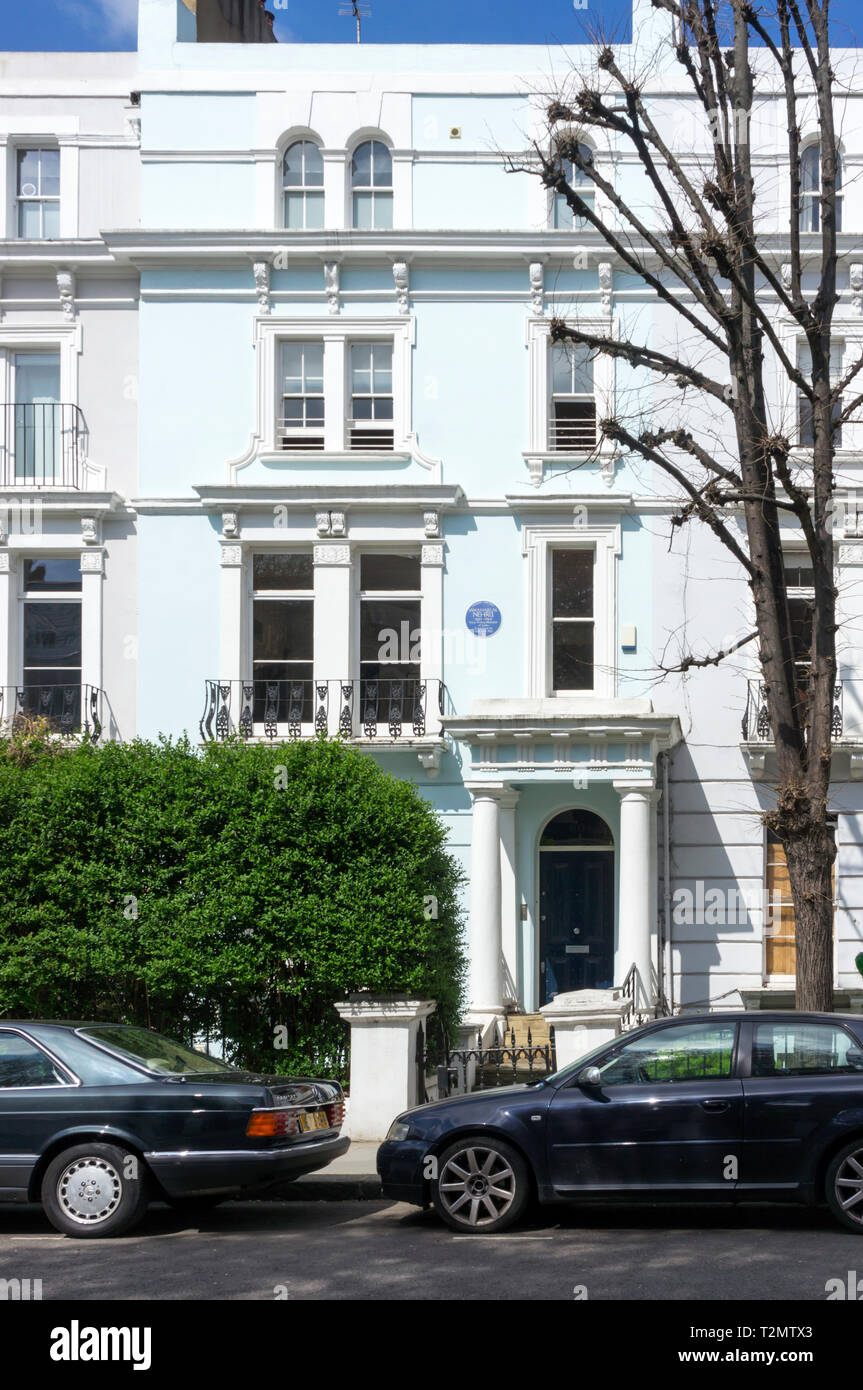 The house at 60 Elgin Crescent, Notting Hill, occupied by Jawaharlal Nehru, the first Prime Minister of India. - Stock Image