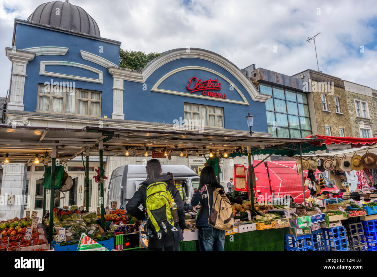 Portobello Road market in front of the Electric Cinema in Notting Hill. - Stock Image
