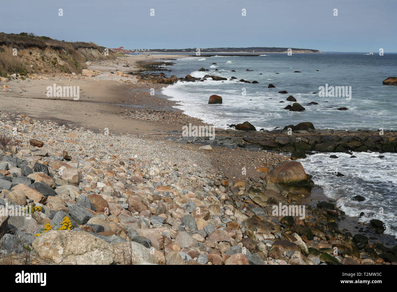 Green Hill Cove, Block Island, Rhode Island, USA. Off the southeastern section or region of New Shoreham, RI sits Block Island.It's a vacation region. - Stock Image