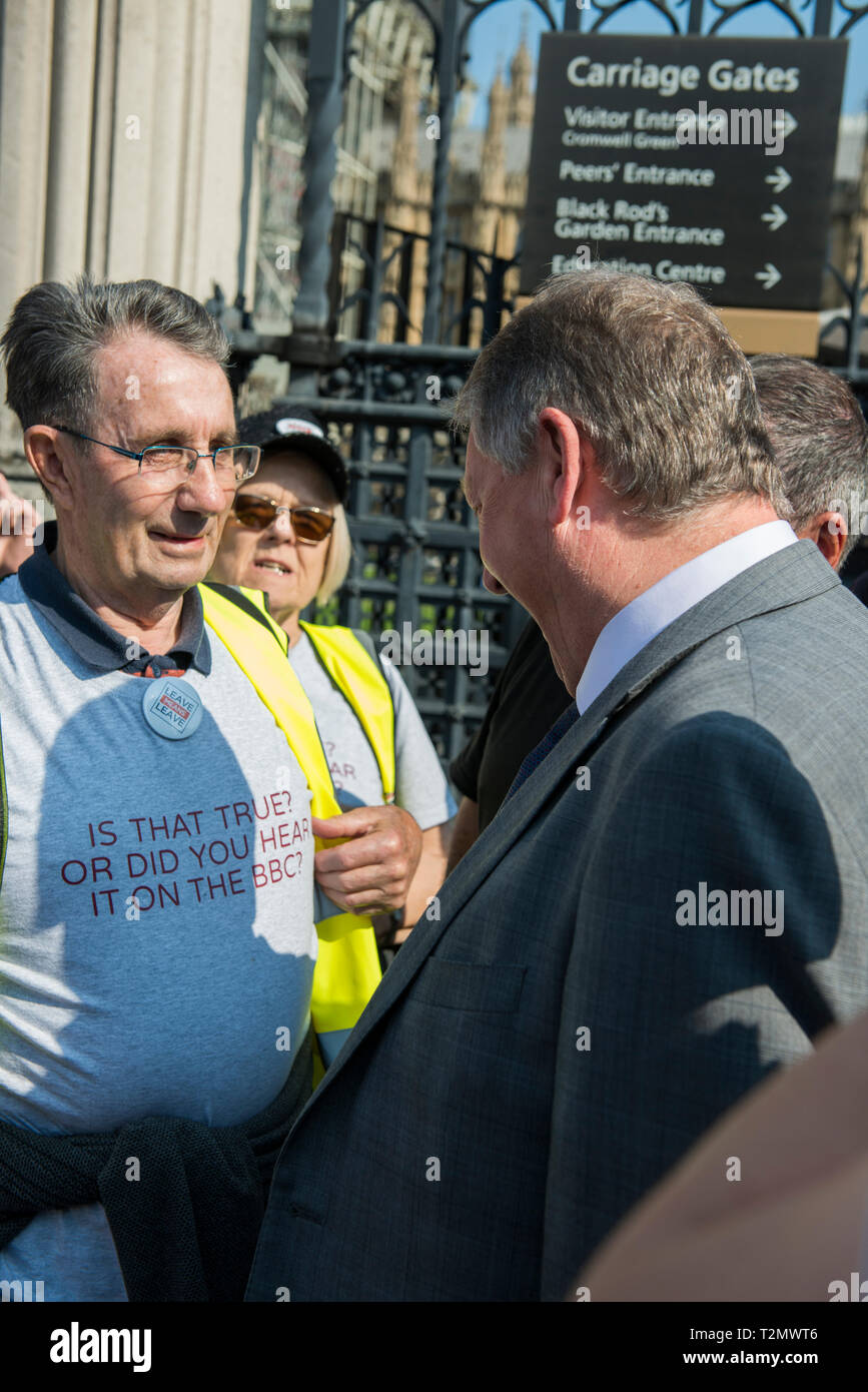 Sammy Wilson DUP MP Outside the Houses of Parliament, London on March 29th 2019 The day the Britain was meant to leave the EU. - Stock Image
