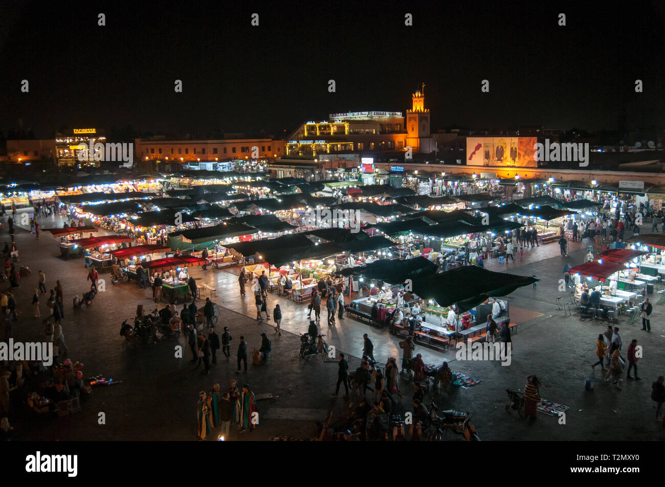 Traditional crowded market in Marrakech Morocco Stock Photo
