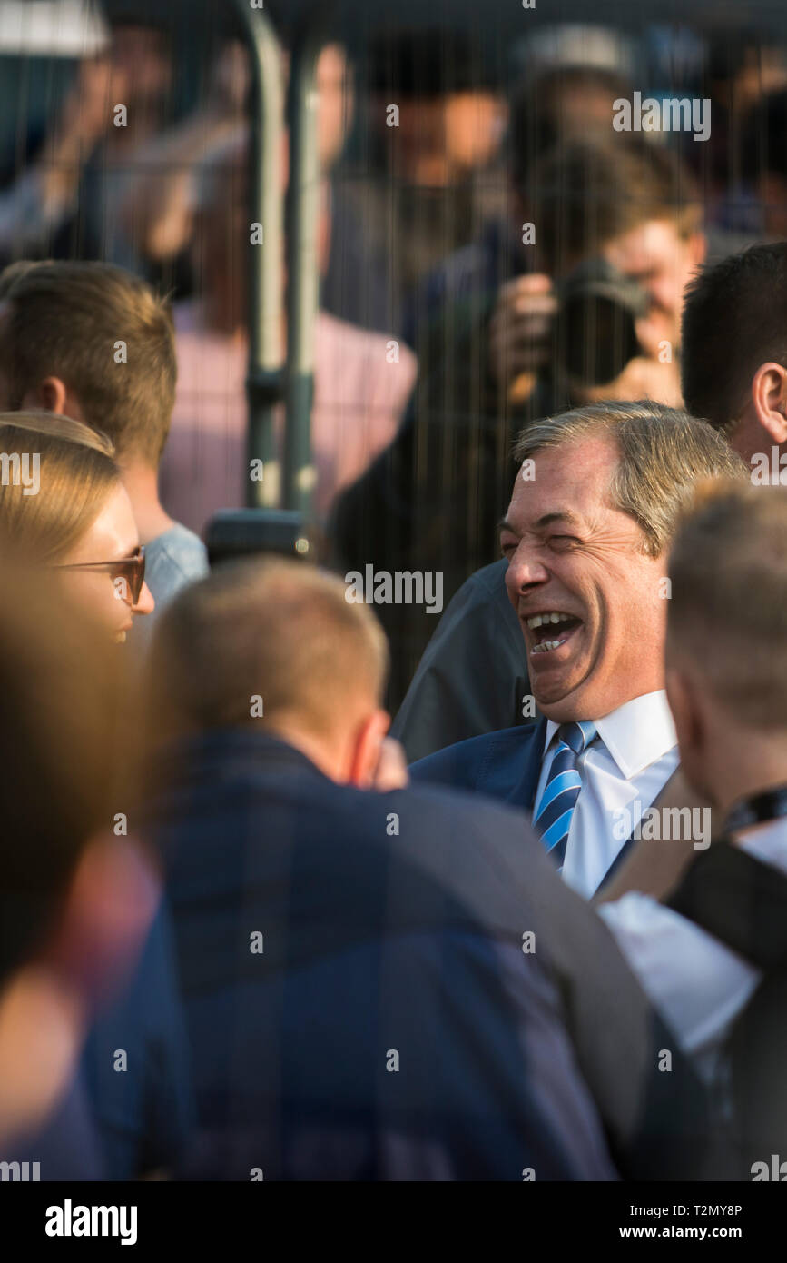 Nigel Farage, before he takes to the stage at the Leave Means Leave rally in Parliament Square, London on March 29th 2019 - Stock Image