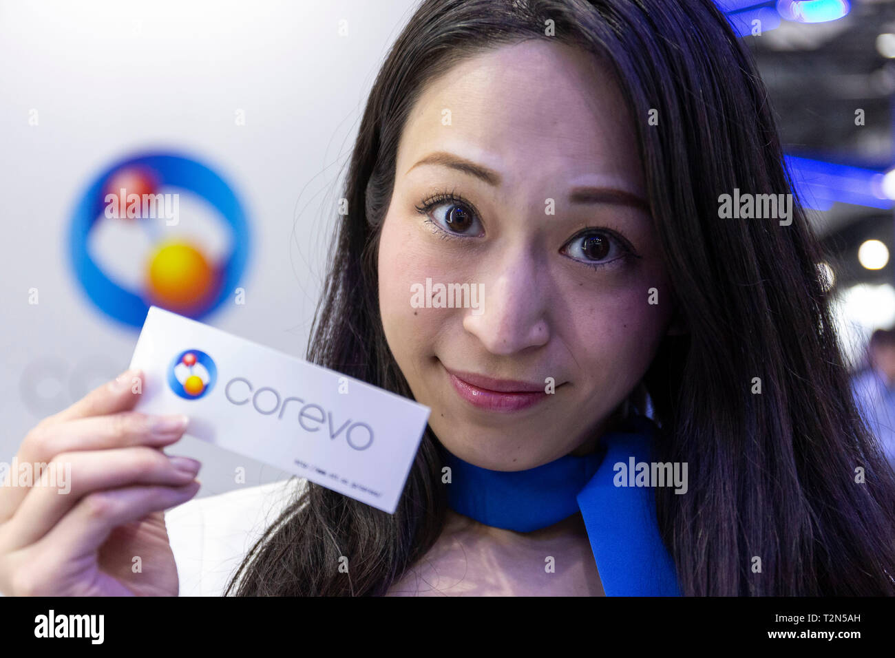 Exhibition Booth Assistant : Tokyo japan rd apr a booth assistant poses for a