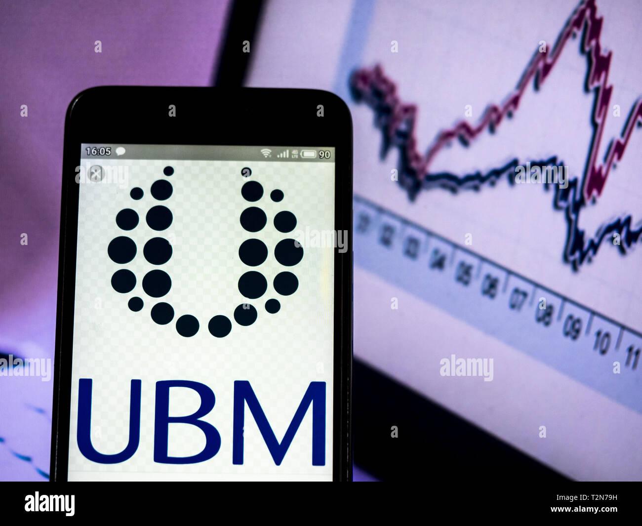 Ukraine  3rd Apr, 2019  In this photo illustration a UBM plc logo