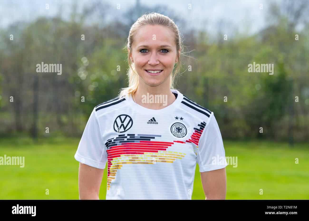 Harsewinkel, Germany. 03rd Apr, 2019. Photo shoot of the DFB women's national team with team and portrait photos at the Hotel Klosterpforte. Germany's Turid Knaak. Credit: Guido Kirchner/dpa/Alamy Live News - Stock Image