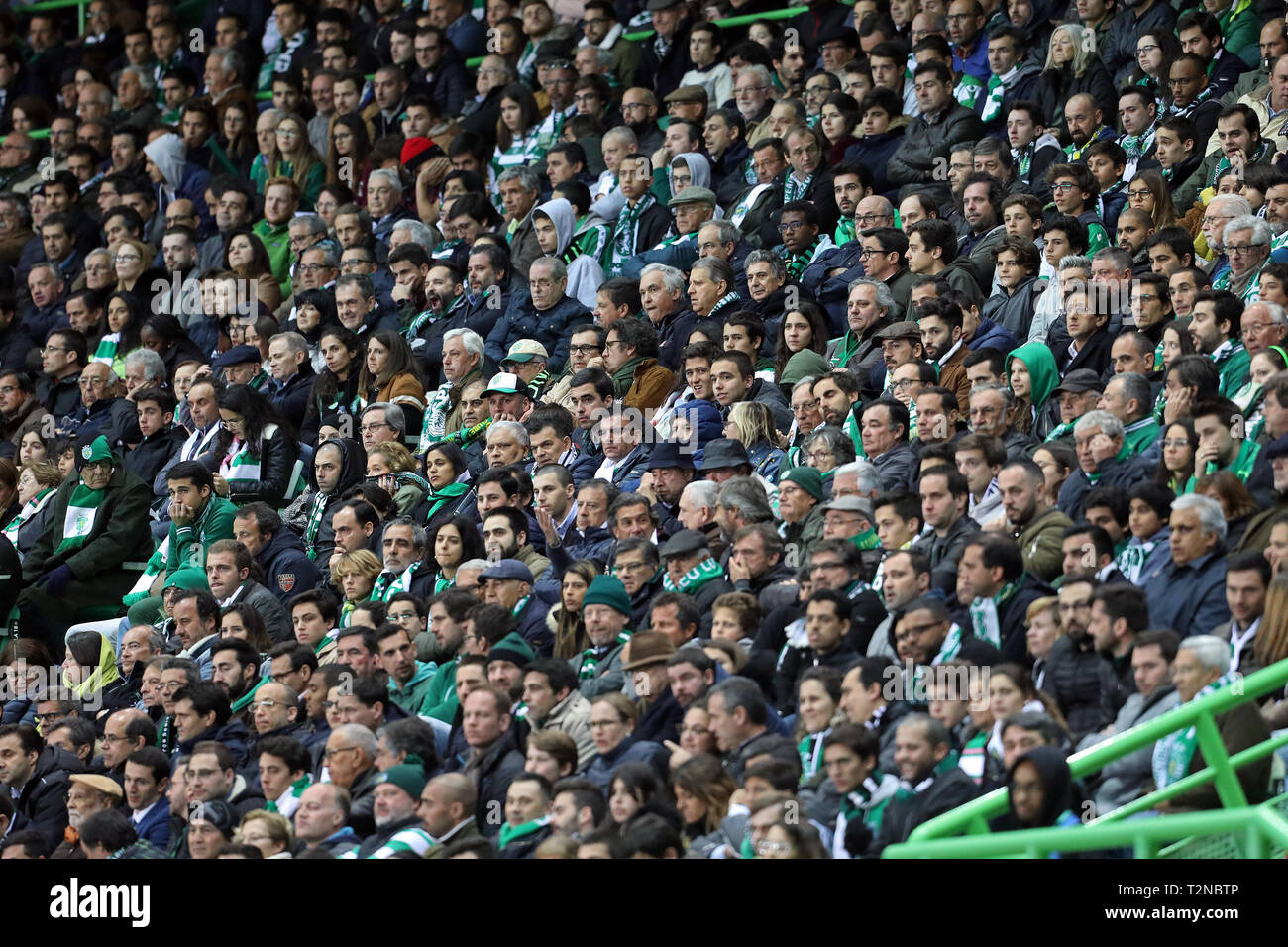 Lisbon, Portugal. 03rd Apr, 2019. Sporting CP supporters during the Cup of Portugal Placard 2018/2019, 2nd hand - final half football match between Sporting CP vs SL Benfica. (Final score: Sporting CP 1 - 0 SL Benfica) Credit: SOPA Images Limited/Alamy Live News - Stock Image