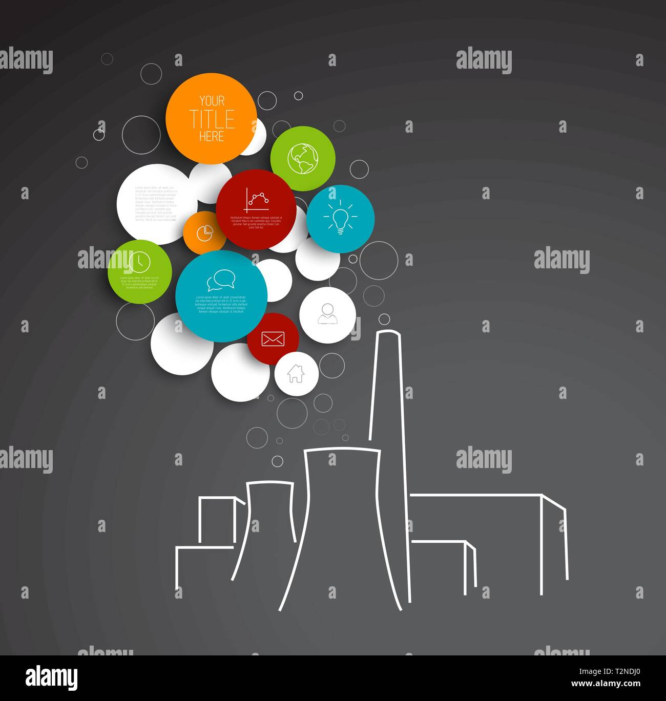 Vector abstract circles pollution illustration / infographic template with place for your content - Stock Image