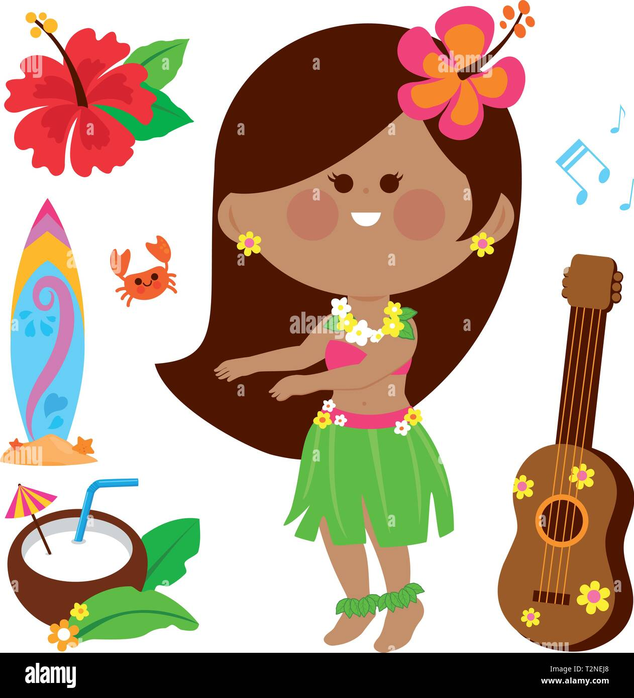 Vector illustration collection of a Hawaiian hula dancer girl and other beach summer vacation design elements. - Stock Vector