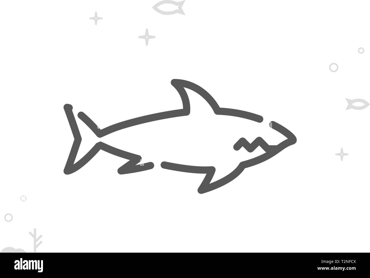 Shark Vector Line Icon  Marine Life, Sea Creatures Symbol