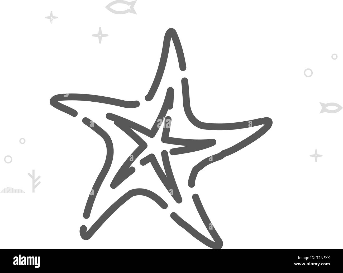 Starfish Vector Line Icon. Marine Life, Sea Creatures Symbol, Pictogram, Sign. Light Abstract Geometric Background. Editable Stroke. - Stock Image