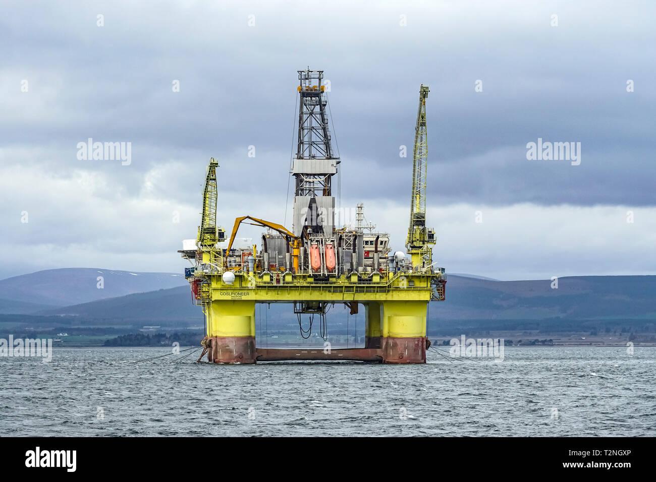 Moored platform COSLPIONEER in Cromarty Firth near Cromarty Black Isle Highland Scotland UK - Stock Image