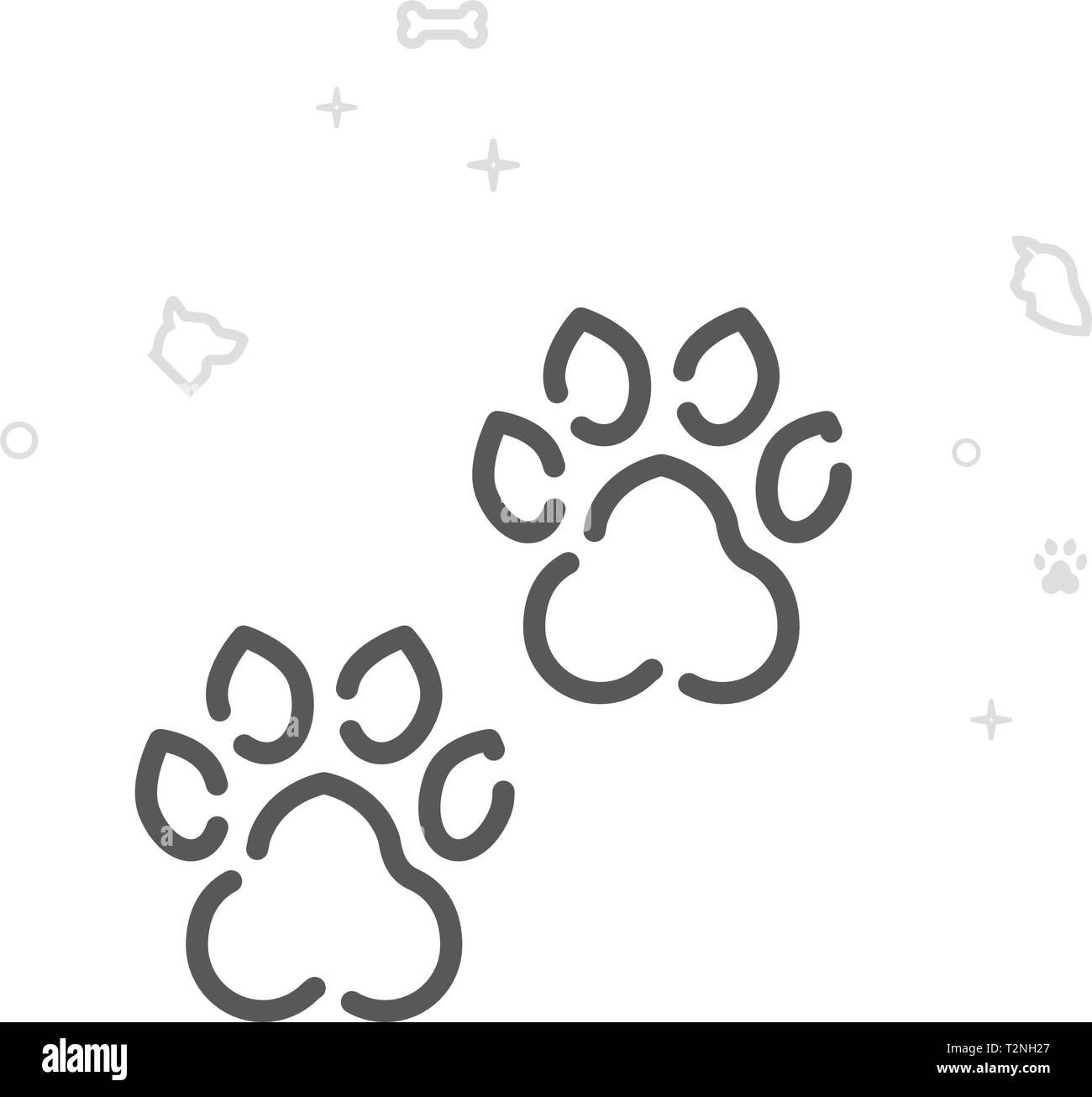 Animal Tracks, Footprint Vector Line Icon. Pet Supplies Symbol, Pictogram, Sign. Light Abstract Geometric Background. Editable Stroke. - Stock Image