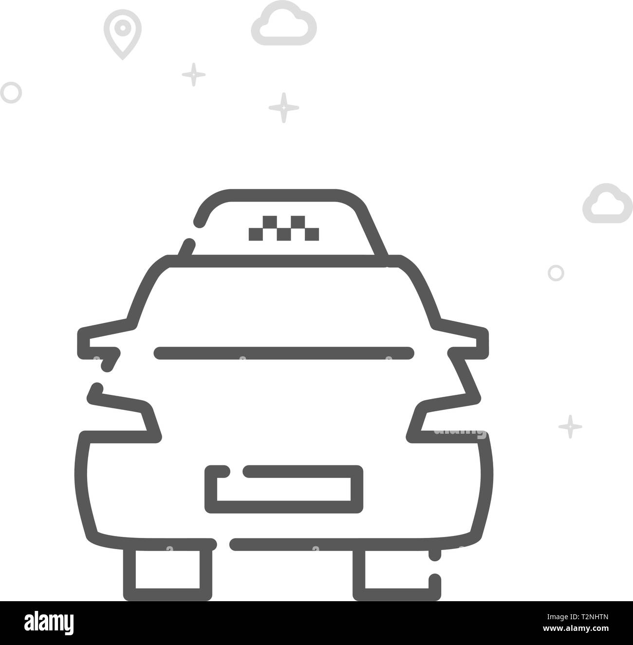 Taxi Vector Line Icon. City Urban Transport Symbol, Pictogram, Sign. Light Abstract Geometric Background. Editable Stroke. Adjust Line Weight. Stock Vector