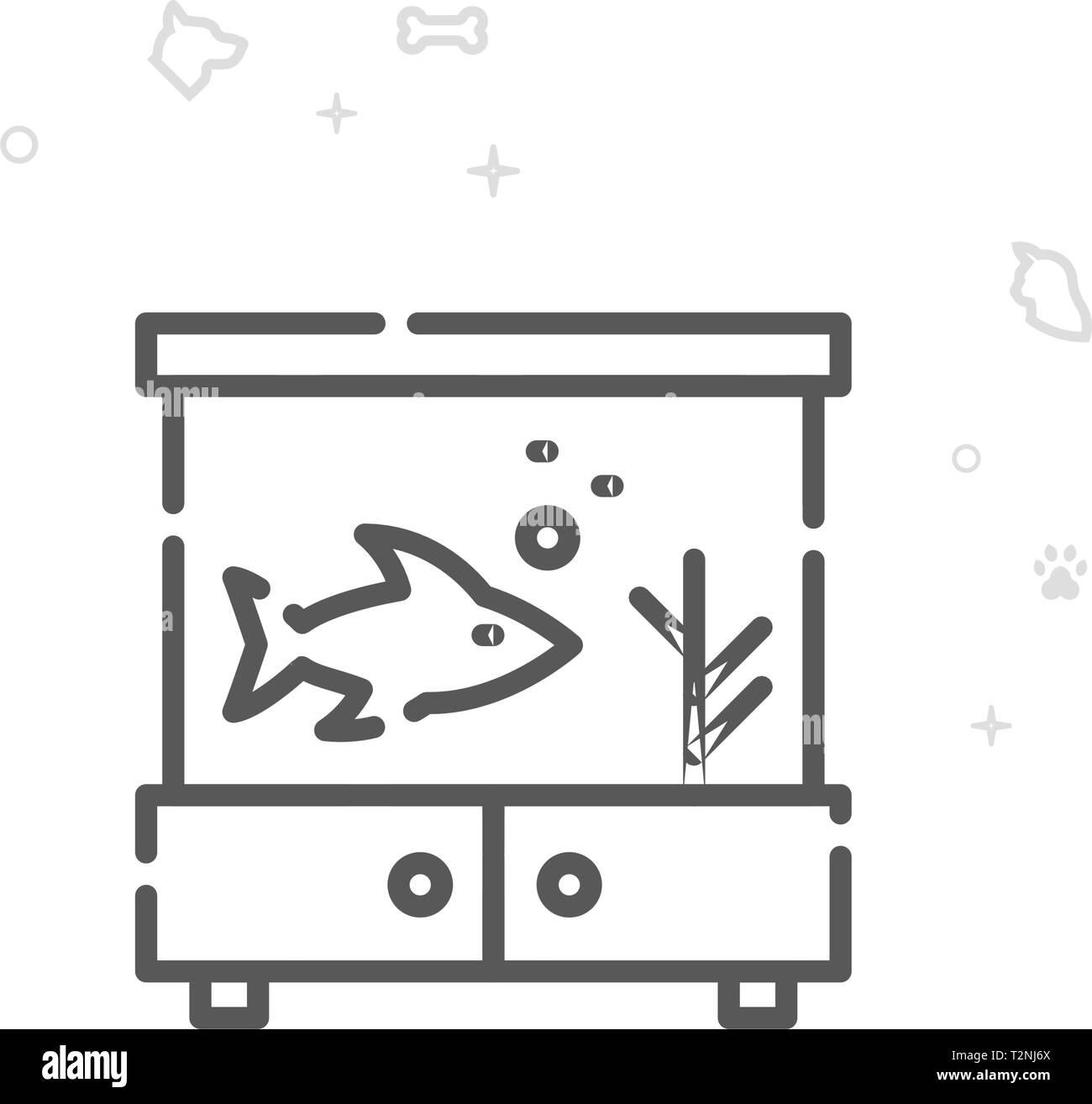 Aquarium Vector Line Icon. Pet Supplies Symbol, Pictogram, Sign. Light Abstract Geometric Background. Editable Stroke. Adjust Line Weight. - Stock Image