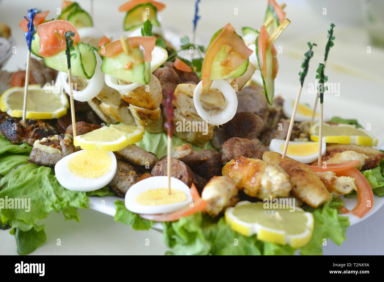 wll decorated party catering food,image - Stock Image