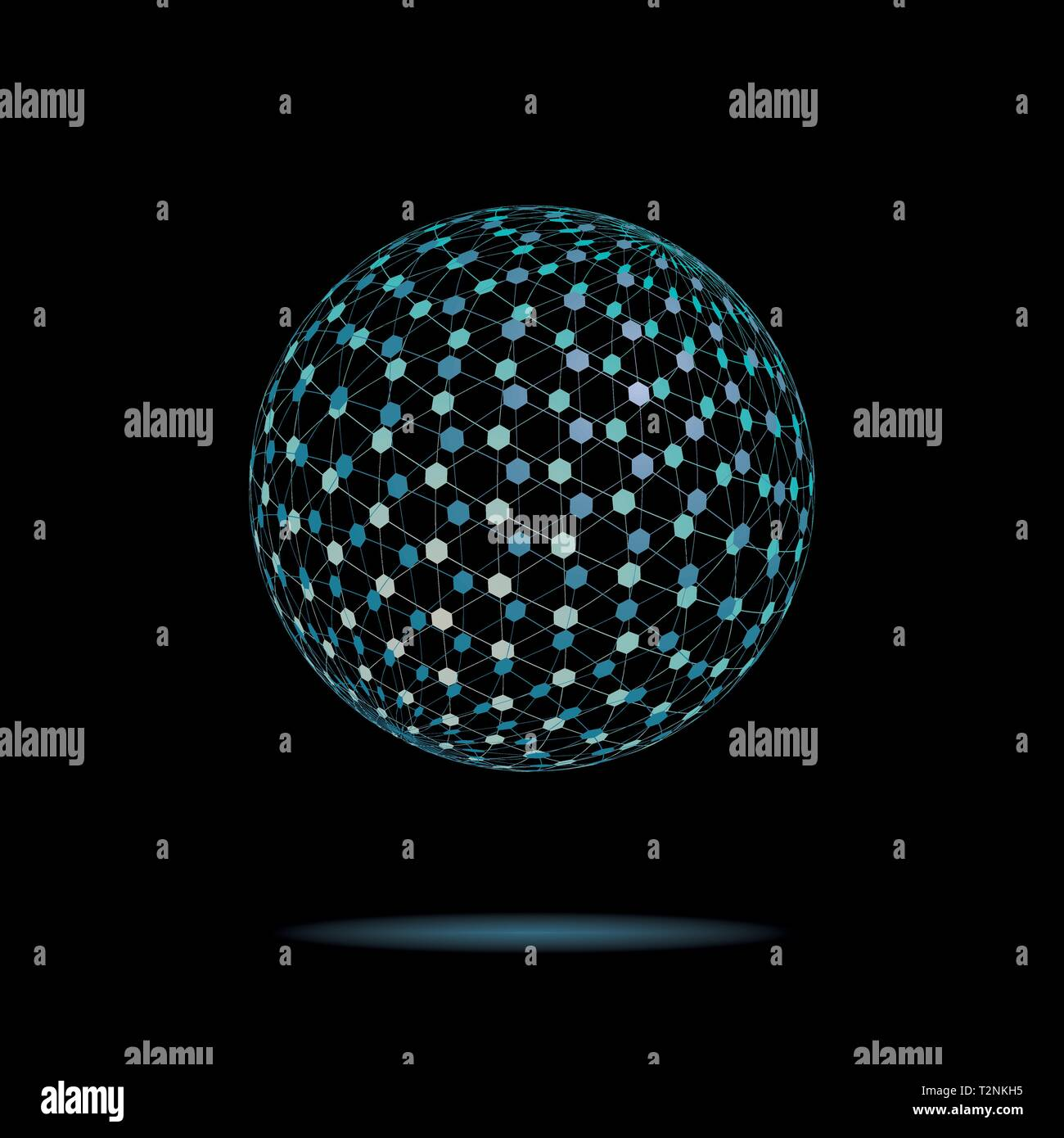 Abstract levitating transparent tesseract sphere on black background vector illustration Stock Vector