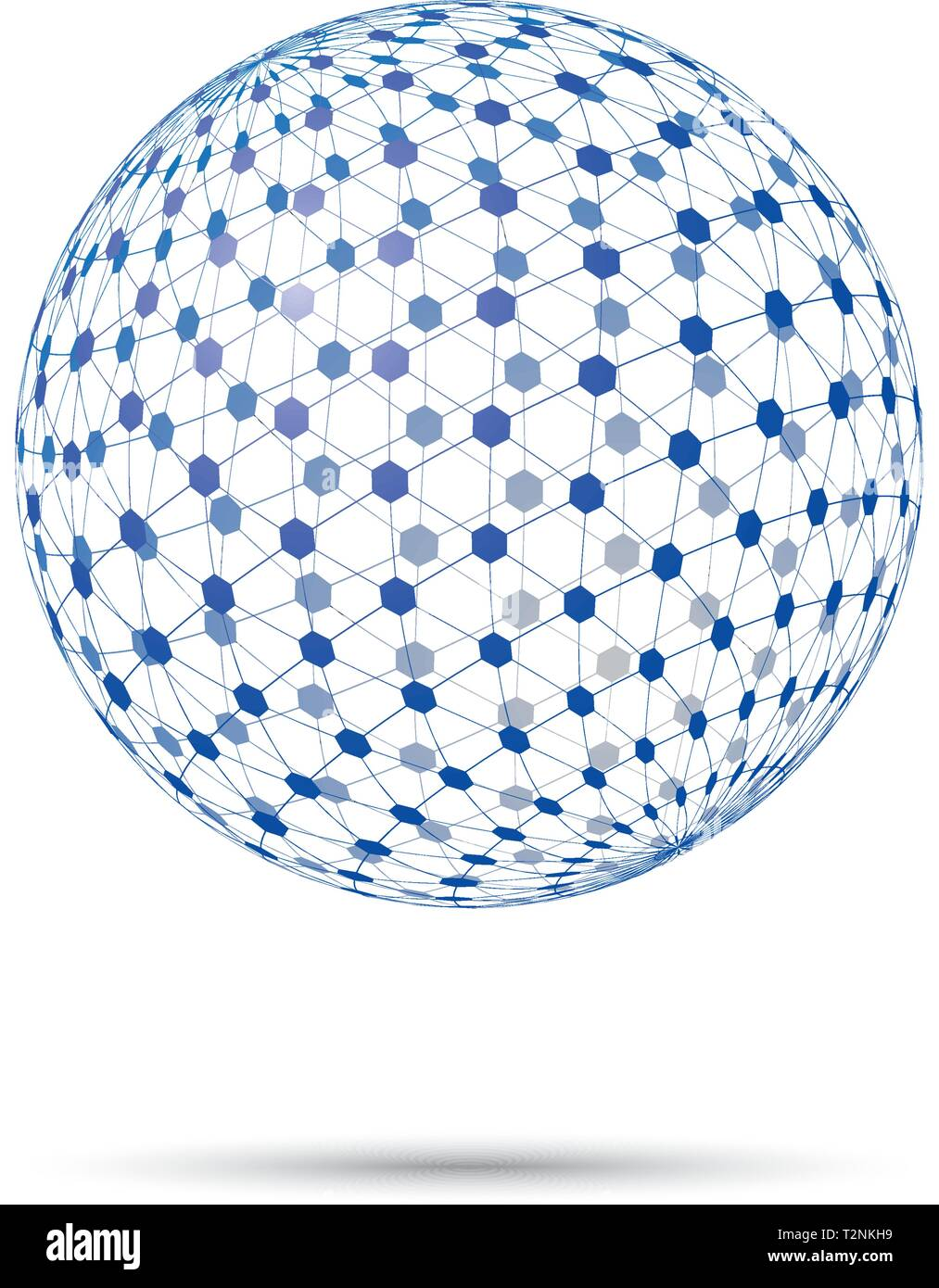 Abstract levitating transparent tesseract sphere vector illustration - Stock Image