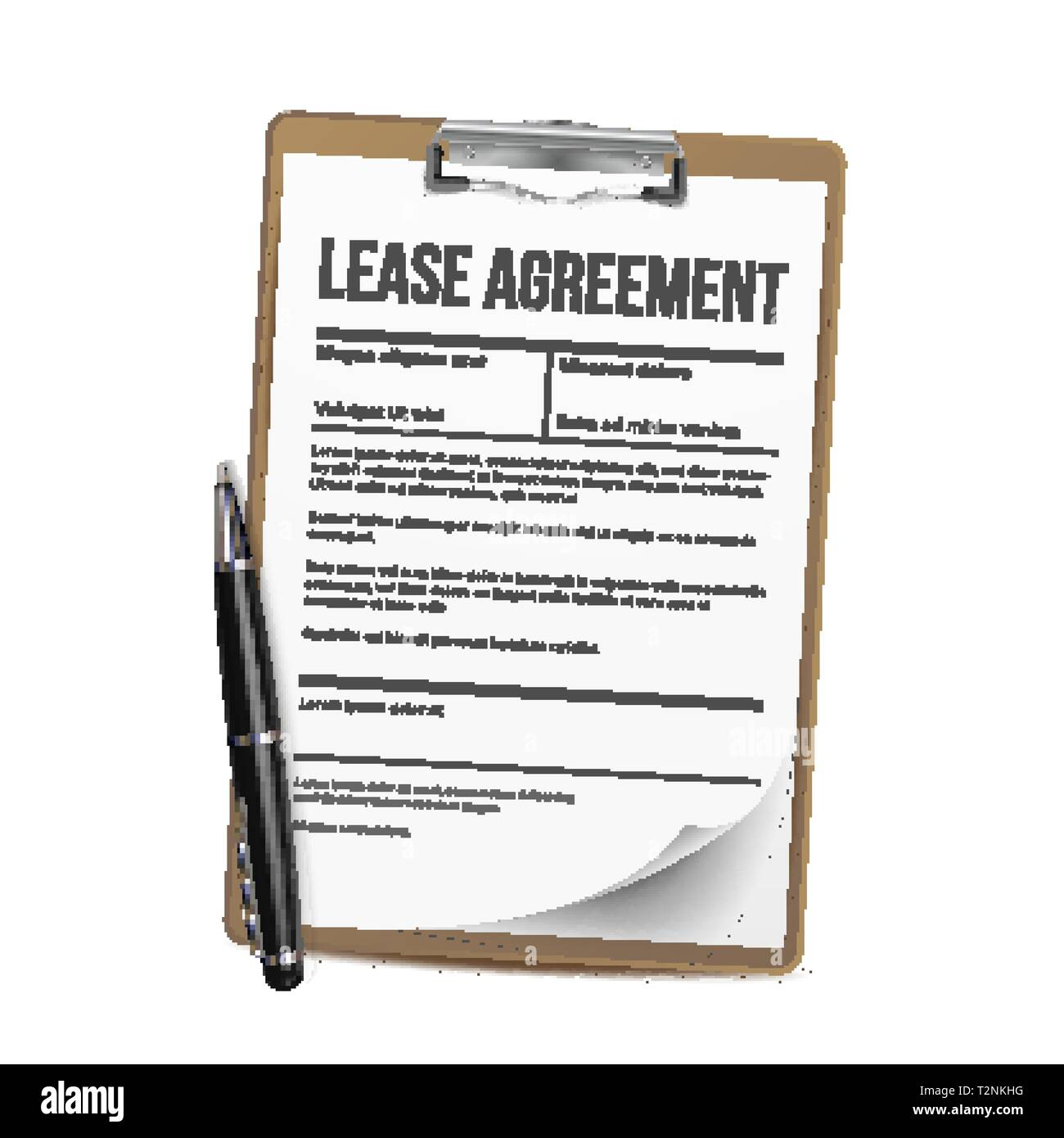 Lease Vector Home Rent Blank Document Lease Contract Loan