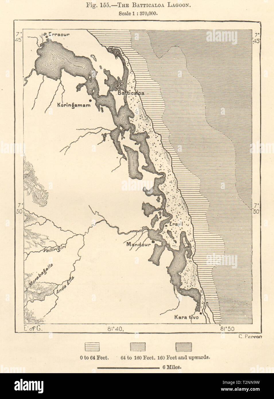 Colombo sketch map c1885 old antique vintage plan chart SRI LANKA