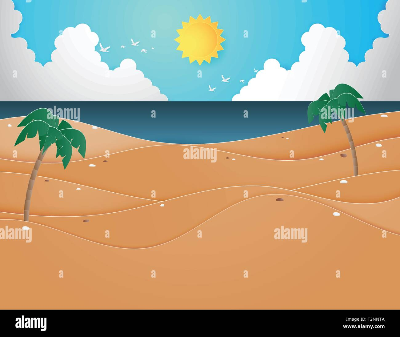 Illustration of Summer beach and sea with palm trees on the beach. Paper art and digital craft paper cut style for wallpaper, poster, banner template, Stock Vector