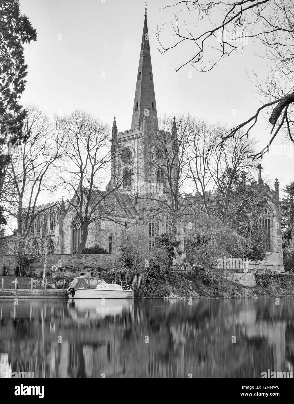 Holy Trinity Church,  Burial Place of William Shakespeare, on the River Avon in Stratford upon Avon, Warwickshire, on March 28th 2019. - Stock Image