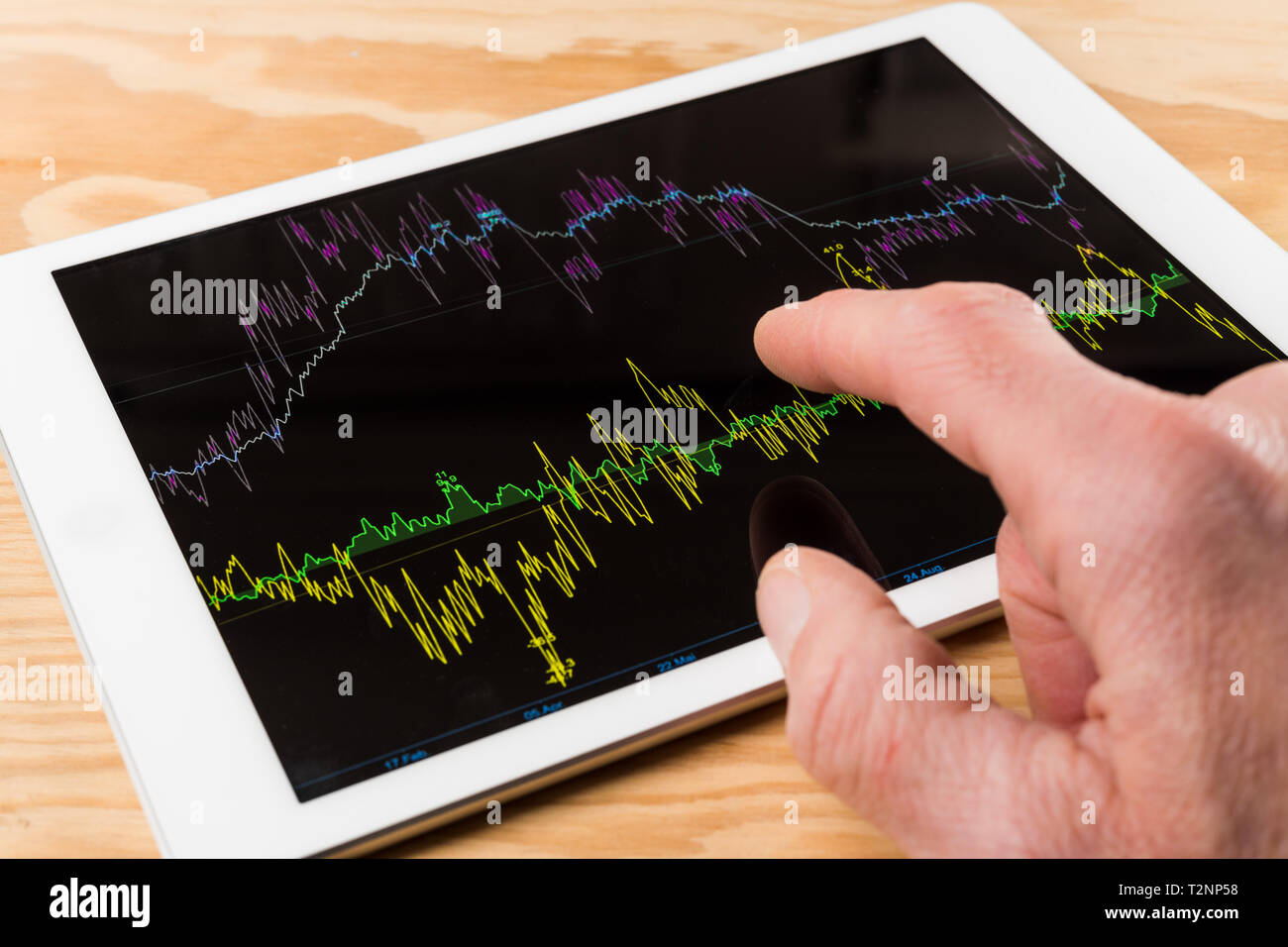 table with tablet computer, graphical diagram Stock Photo