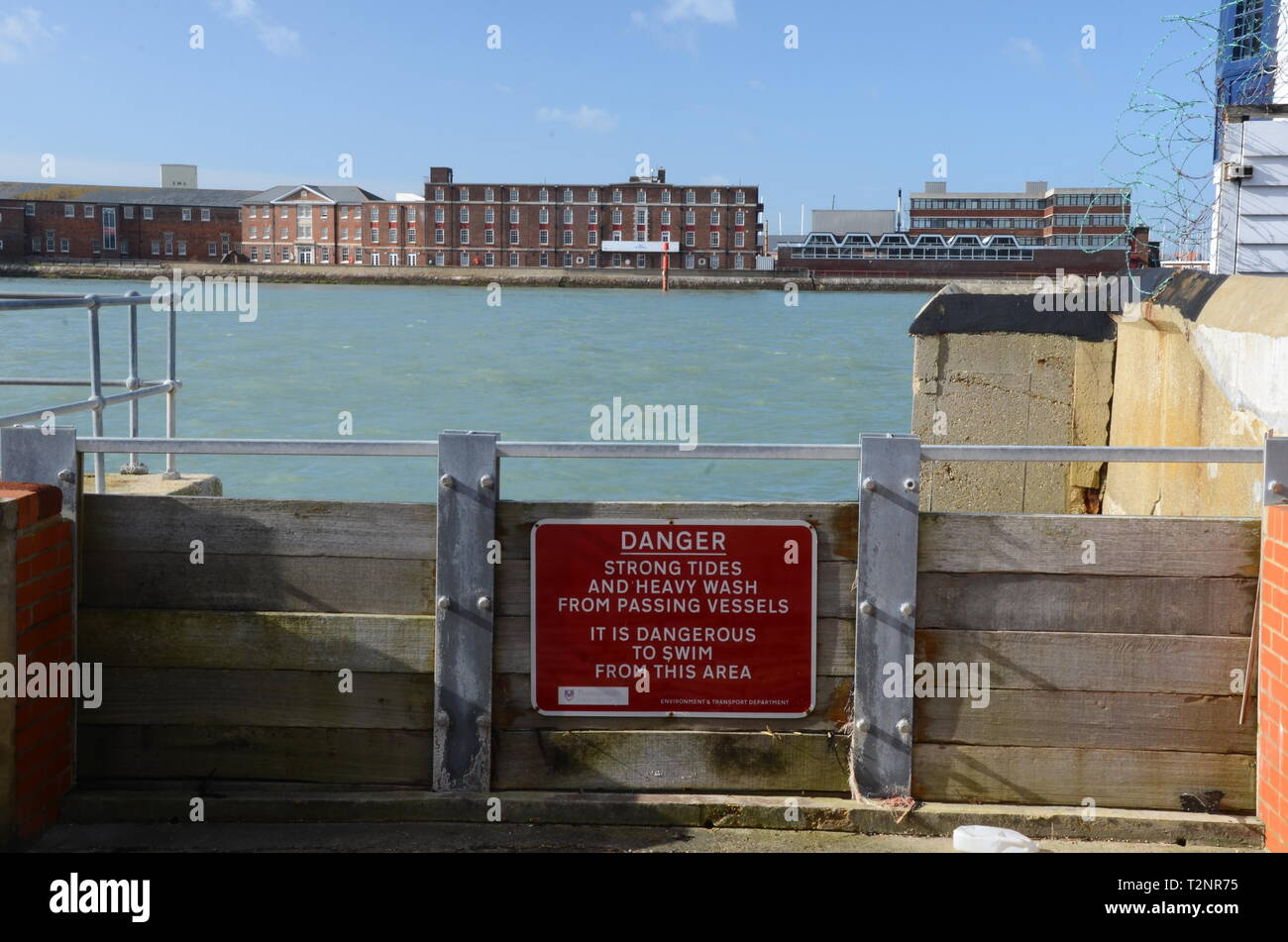 Danger, strong tides, fast moving water and heavy sea Stock Photo