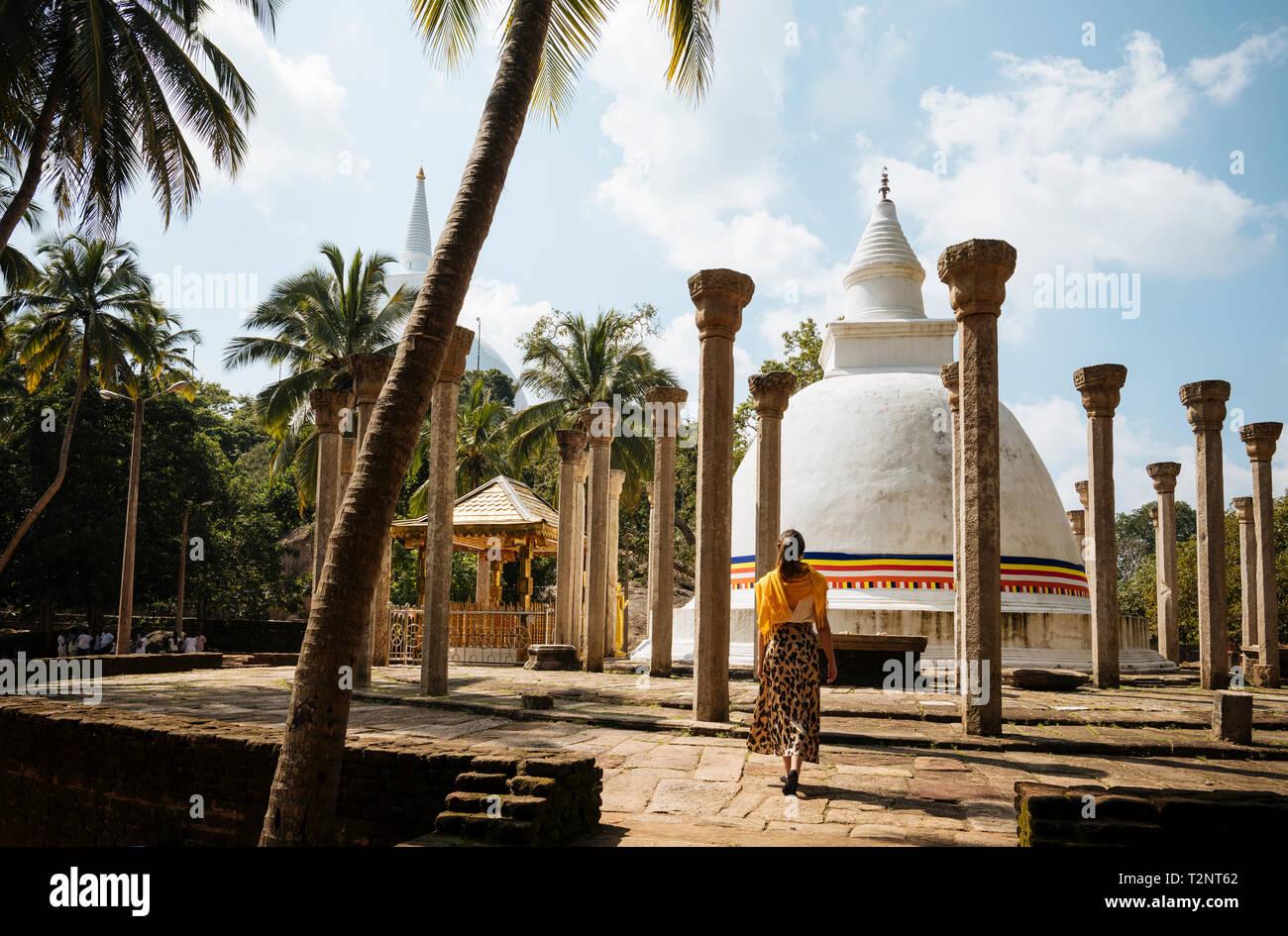 Woman at Ambasthala Dagaba, Mihintale, North Central Province, Sri Lanka Stock Photo