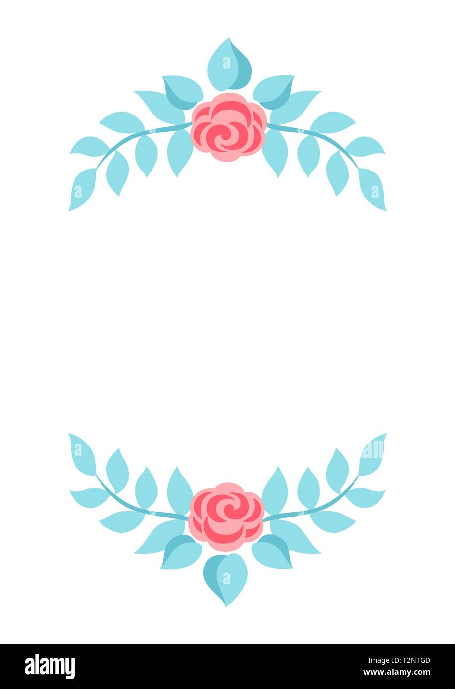 Frame with gentle flowers. Beautiful decorative natural plants, buds and leaves. - Stock Image