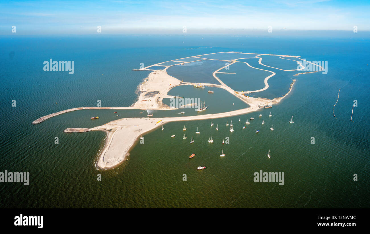First Dutch artificial island for nature: Marker Wadden from the sky Stock Photo