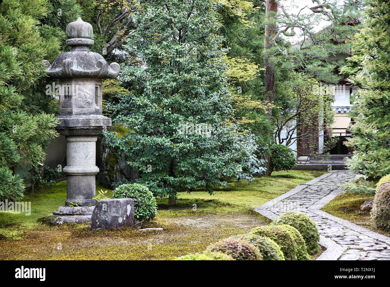 Kyoto, Japan - zen garden at famous Daitokuji (Daitoku-ji) Temple. Buddhist zen temple of Rinzai school. - Stock Image