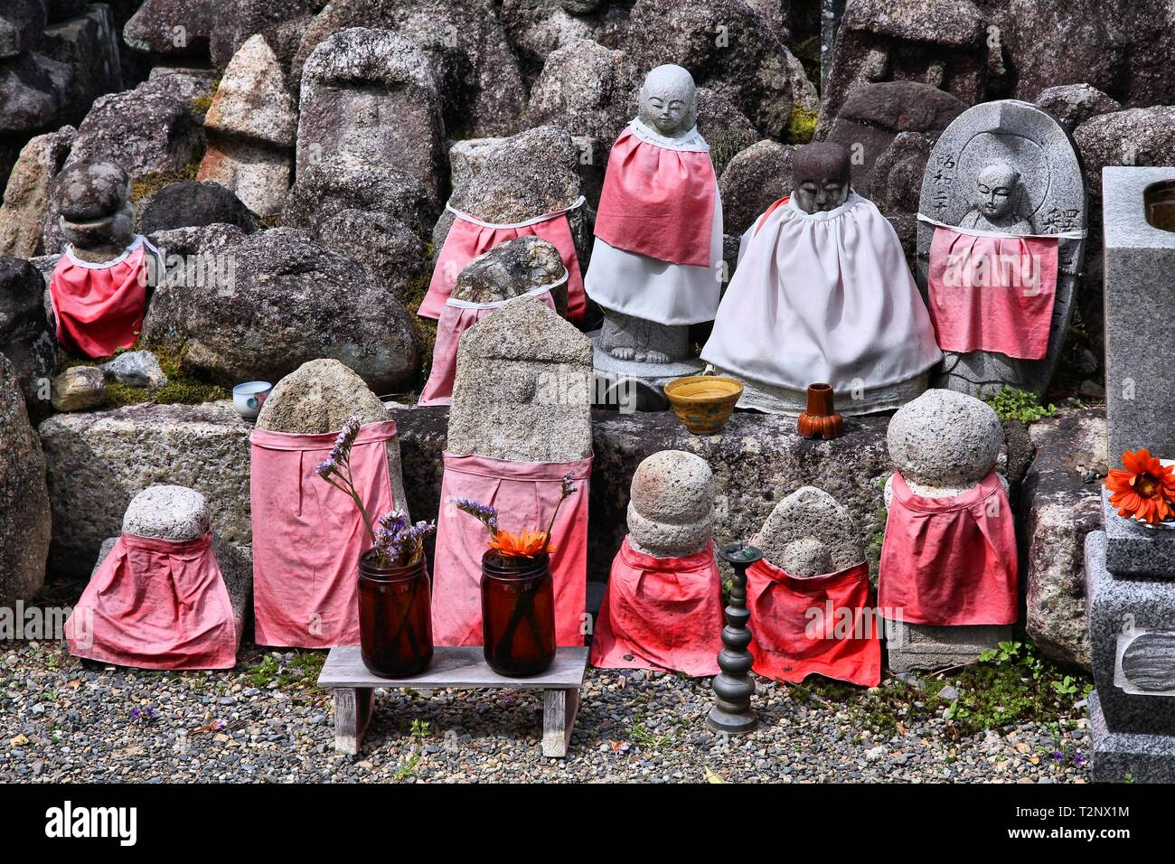Kyoto, Japan - small jizo statues at famous Daitokuji (Daitoku-ji) Temple. Buddhist zen temple of Rinzai school. Jizo, also known as Ksitigarbha are b - Stock Image