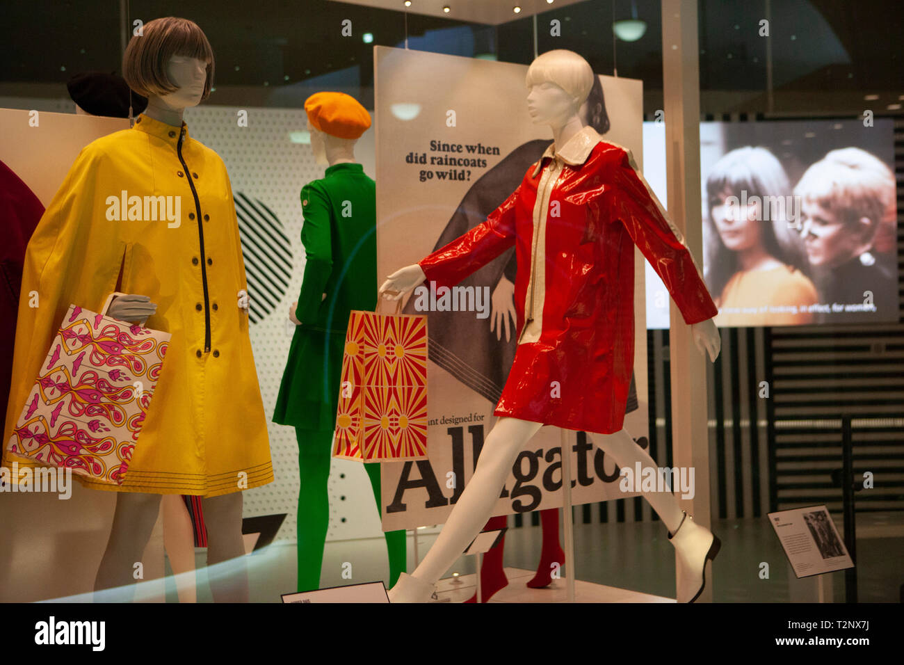 The exhibition 'Mary Quant' opens at the Victoria and Albert Museum, London, showcasing her designs from the 1960s and 1970s, most famously her minidr - Stock Image