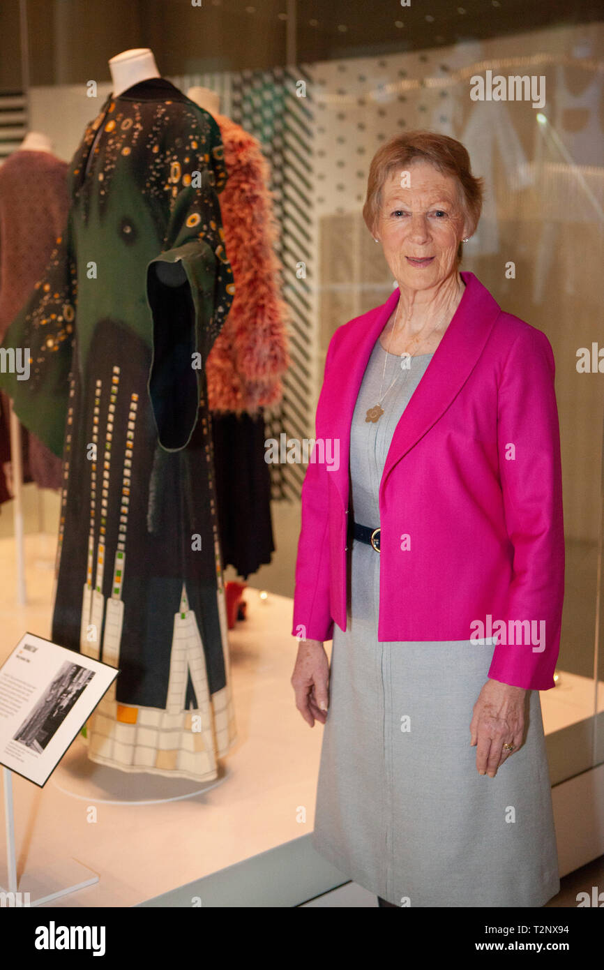 Heather Tilbury, Mary Quyant's Director of Marketing and PR during the 1970s, with her 'Manhattan' dress which she has loaned to Victoria and Albert M - Stock Image