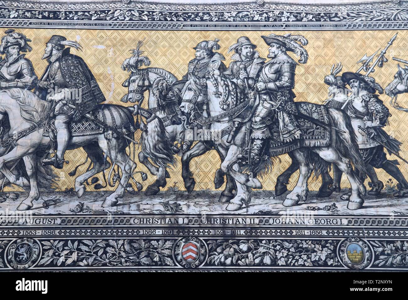 DRESDEN, GERMANY - MAY 10, 2018: Fuerstenzug (Procession of Princes), a mural mosaic of painted Meissen tiles depicting procession of rulers of Saxony - Stock Image