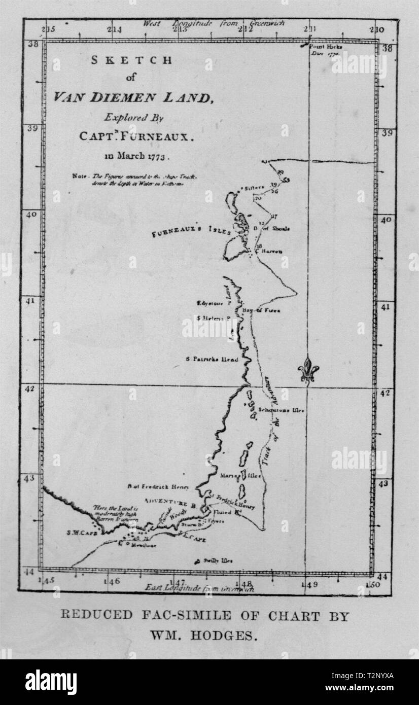 Reduced Fac-simile of a Chart by Wm Hodges. Explorers. Australia 1890 old map - Stock Image