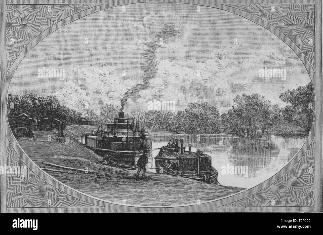 The River Darling at Bourke. The Murray river basin. Australia 1890 old print - Stock Image