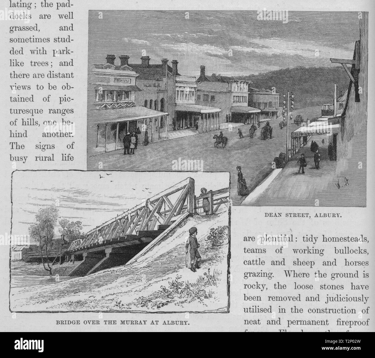 Bridge over the Murray at Albury and Dean Street, Albury. Australia 1890 print - Stock Image