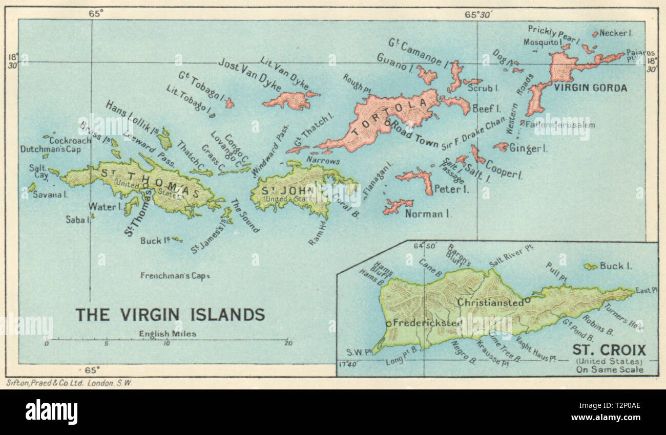 BRITISH/US VIRGIN ISLANDS Tortola Virgin Gorda St Croix St Thomas ...
