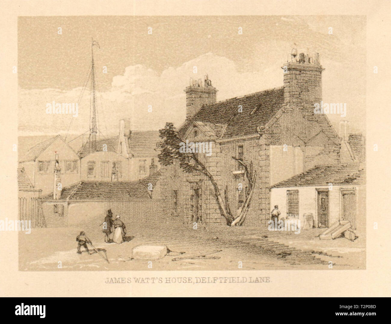 James Watt's house, Delftfield lane, Glasgow. SMALL 1848 old antique print - Stock Image