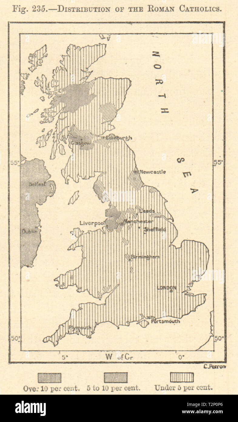 Distribution of the Roman Catholics in Great Britain. Sketch map 1885 old - Stock Image