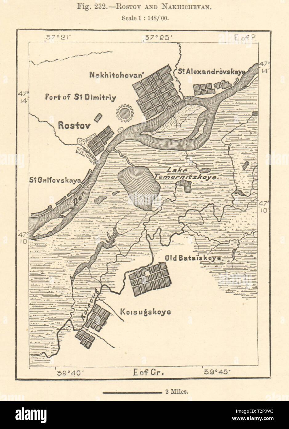 Rostov-on-Don and Nakhichevan. Bataysk. Russia. Sketch map ...