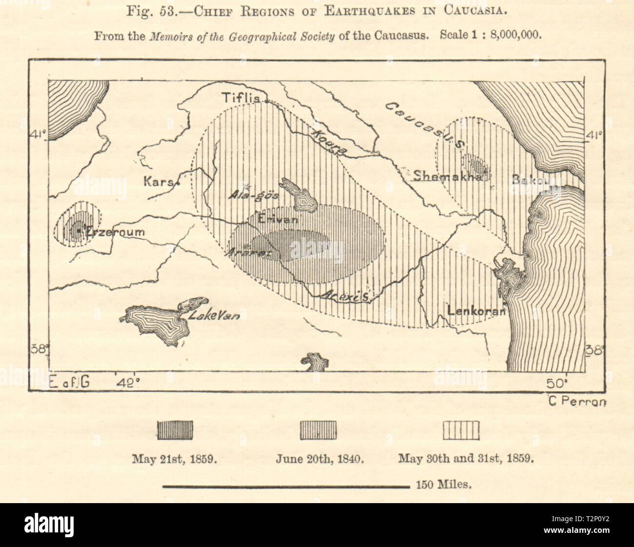 Caucasus 1840/59 earthquakes. Azerbaijan Armenia Georgia Turkey. Sketch map 1885 - Stock Image