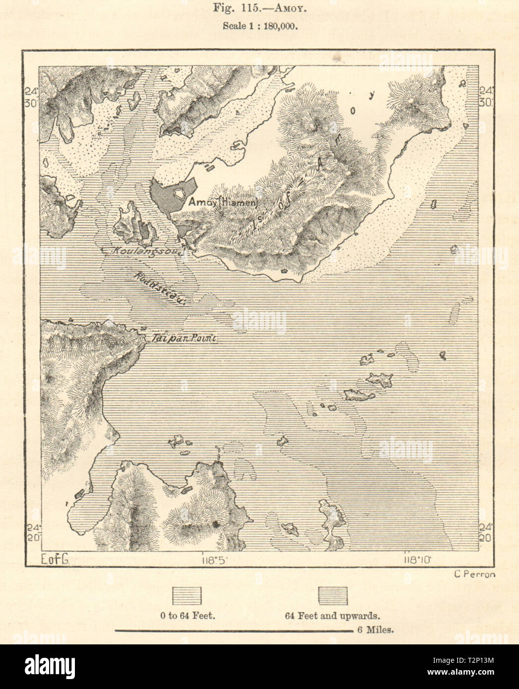 Xiamen China Map.Amoy Xiamen Jiulong Estuary Kulangsu Gulangyu China Sketch