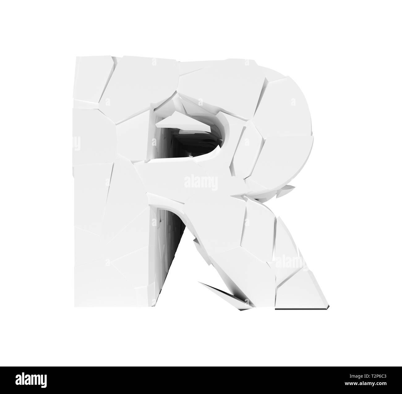 White 3d Foam Letter R Cracked Text Stock Photo 242662451