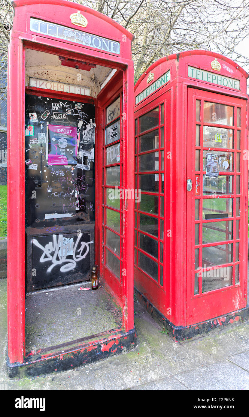Disused phone boxes Norwich UK - Stock Image
