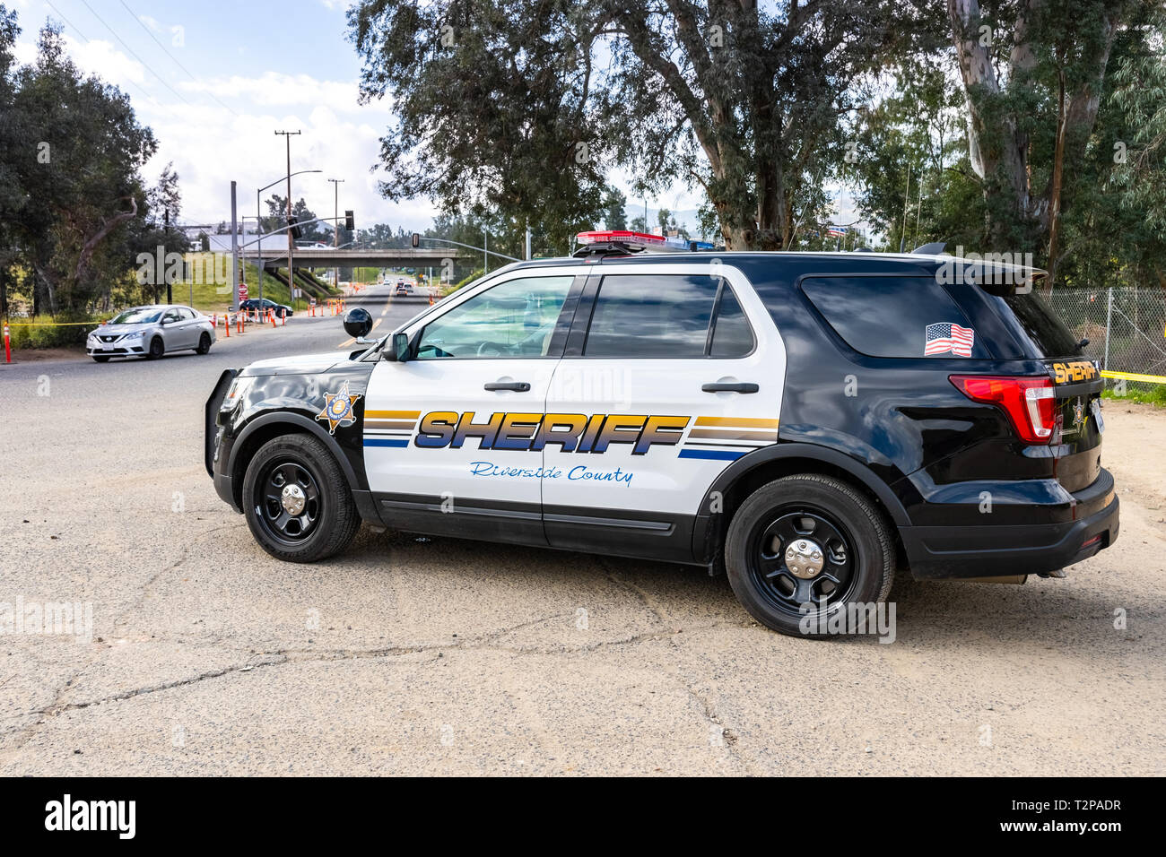 March 20, 2019 Lake Elsinore / CA / USA - Riverside County police car parked at the Walker Canyon trailhead - Stock Image