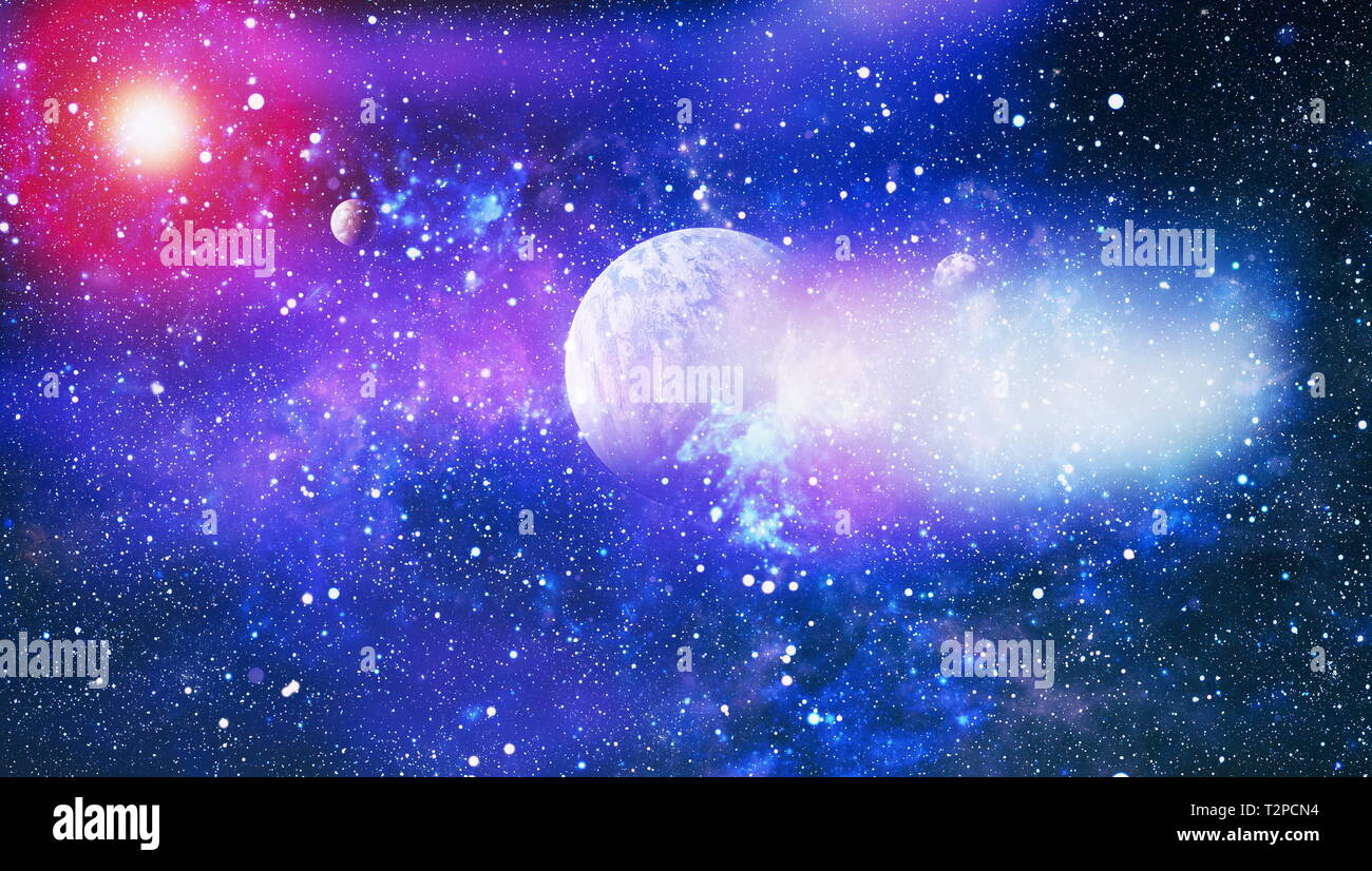 Futuristic abstract space background  Night sky with stars
