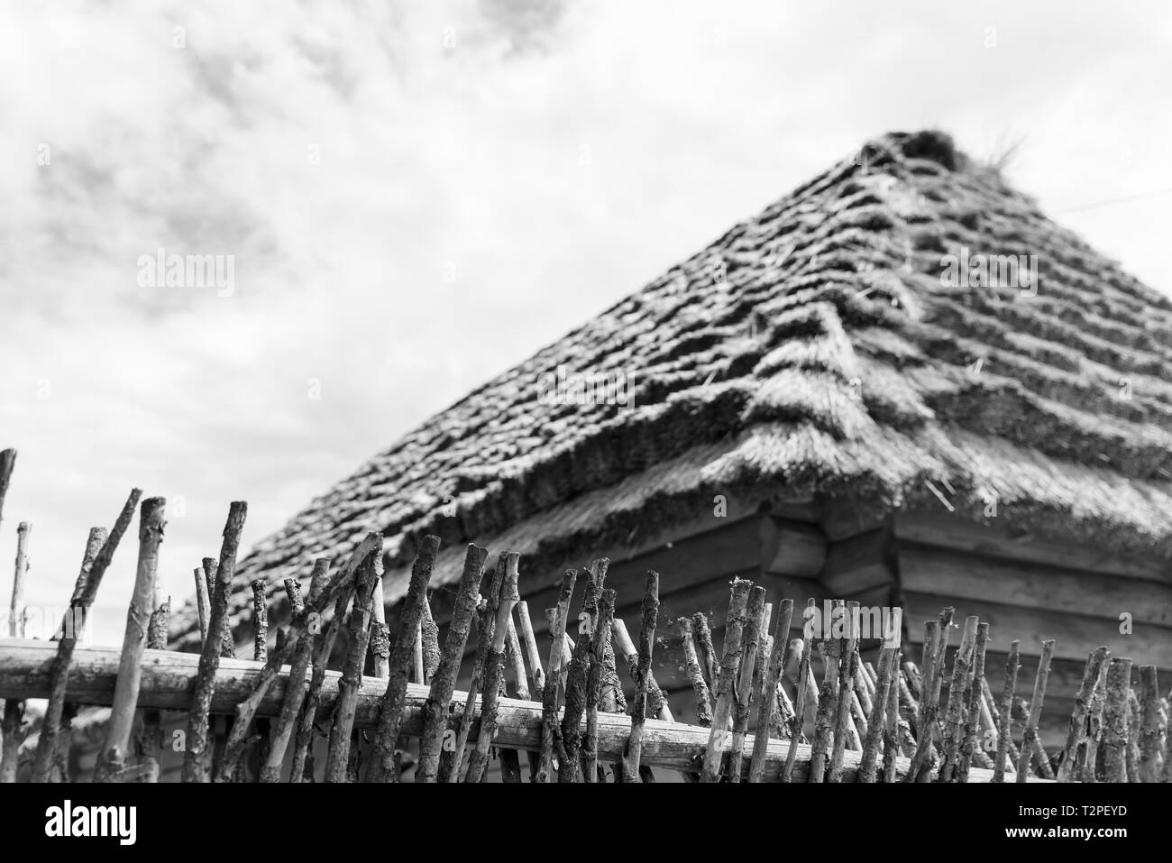 Old wooden hut with a straw roof, traditional Ukrainian hut of the end of 19th and early 20th century, monochrome effect Stock Photo