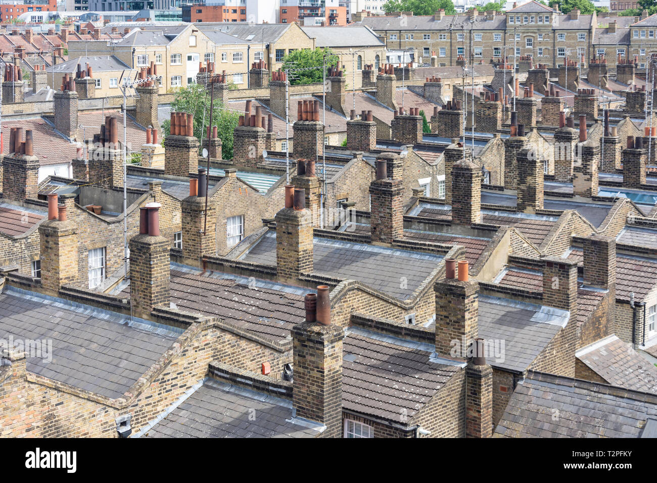 Georgian terraced house roofs and chimneys, Southwark,  The London Borough of Southwark, Greater London, England, United Kingdom - Stock Image